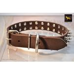 Spiked Brown Leather Collar 3