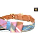 Universe Plaid Bowtie Leather Collar 3