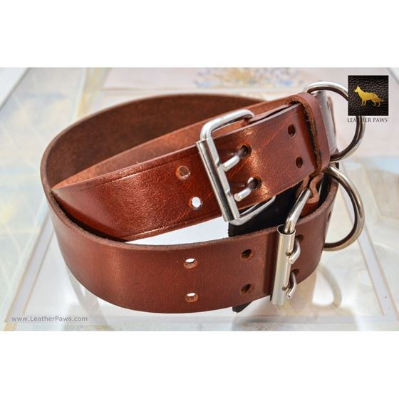 Mahogany Leather Collar