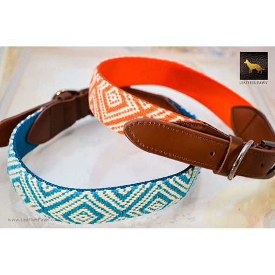 Diamond Pattern Fabric Leather Collar