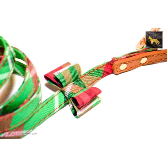 Garden Plaid Bow Tie Leather Leash 3