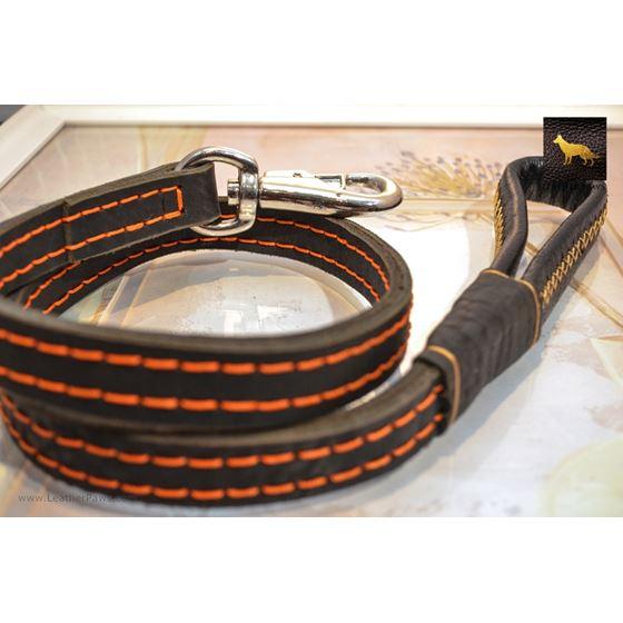 Rhino II Black Leather Leash