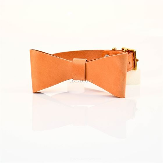 LPNY Sand Bow Tie Leather Collar