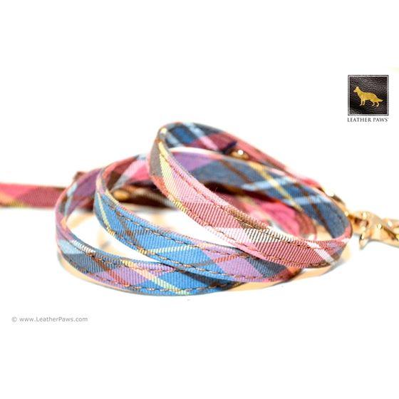 Universe Plaid Bow Tie Leather Leash 3