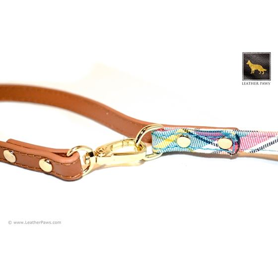 Ocean Plaid Bow Tie Leather Leash 3