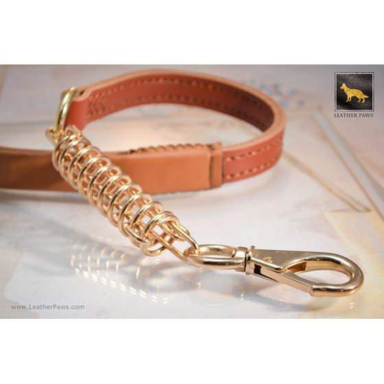 Golden Luxury Short Leather Leash