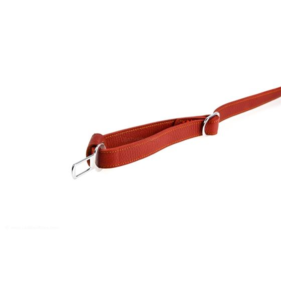 Red Travel Leather Leash 3