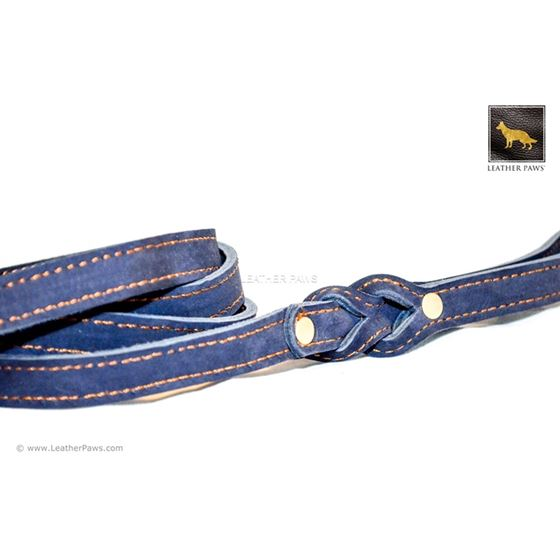 Love Knot II Blue Leather Leash 2