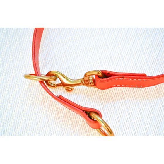 LPNY Hybrid Orange Leather Dog Collar
