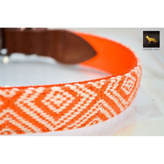 Diamond Shape Pattern Fabric Leather Collar 2