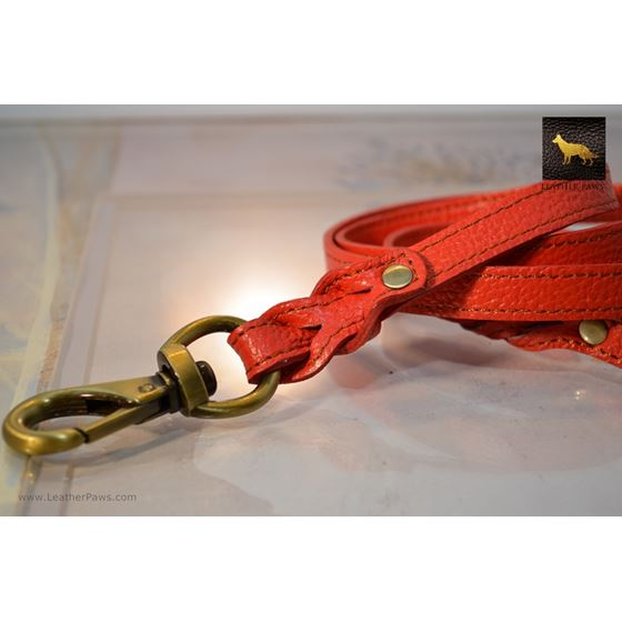 Love Knot II Braid Red Leather Leash