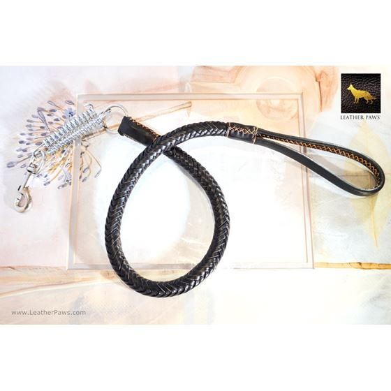 Statement II Black Braided Leather Leash