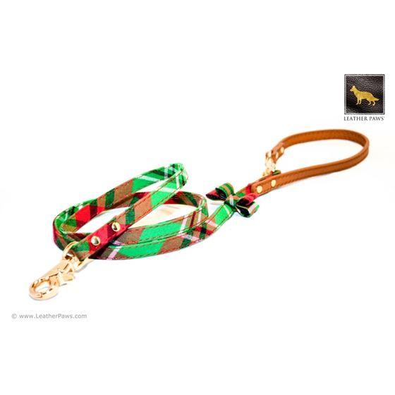 Garden Plaid Bow Tie Leather Leash