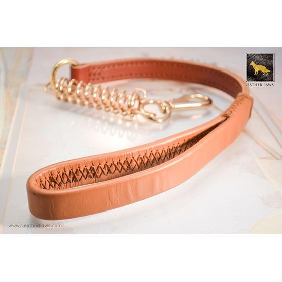 Golden Luxury Short Leather Leash